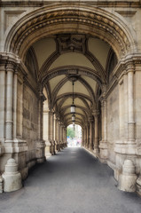 Archway in Vienna / Scenic view of a beautiful arcade with vaulted ceilings in a public building in Vienna, Austria.