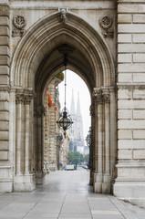 Vienna City Hall corridor / Scenic view of a beautiful arcade of the City Hall facade in Vienna, Austria.
