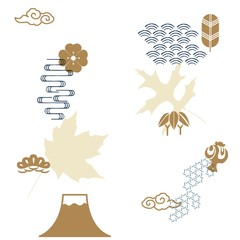 Japanese icons vector with autumn leaf template background. Gold Fuji mountain, pine tree, wave, cherry blossom, cloud symbols.