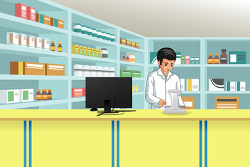 Working Pharmacist at Pharmacy Illustration
