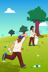 Teens Picking Up Trash in the Park