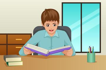 Boy Reading a Book Illustration