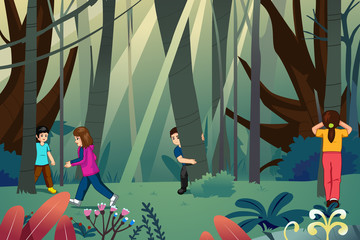 Children Playing Hide and Seek Illustration