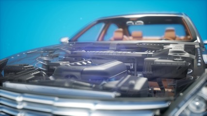 Detailed Car Engine and Other Parts