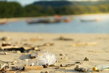 branch tree plastic foam glass bottle rubbish dump on sand sea beach from deep sea after finish strong wind rain monsoon with sea and mountain background