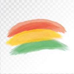 Rastafarian flag in watercolor. Isolated on transparent background. Vector illustration.