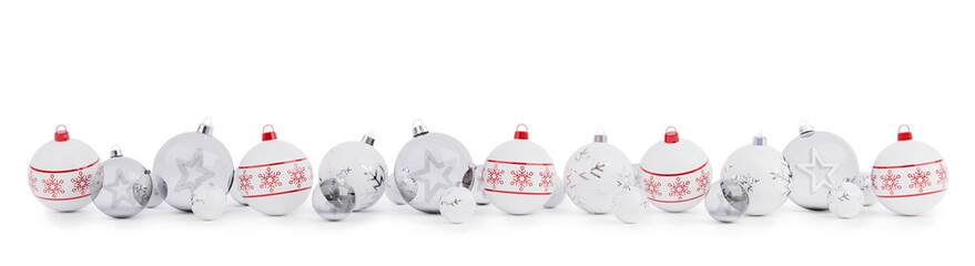 Red and silver christmas baubles isolated 3D rendering