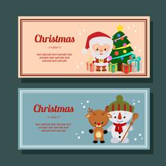 cute christmas season decoration santa claus horizontal banner