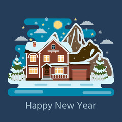 Snowy scene withwinter house and  mountains. Cartoon snow capped house landscape banner for decoration, greeting cards.
