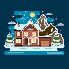 Cozy cottage winter and mountains in the back background. Abstract Christmas icon with winter home. Template for decoration, greeting cards.
