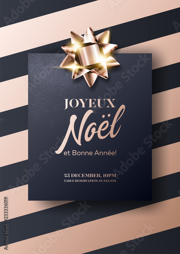 joyeux noel et bonne annee vector card merry christmas and happy new year in french