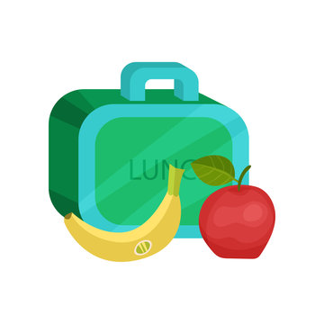 Small lunch box, ripe banana and apple. Healthy nutrition. Tasty school meal. Food theme. Flat vector design