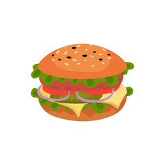 Flat vector icon of appetizing sandwich. Tasty burger. Street fast food. Element for cafe or restaurant menu