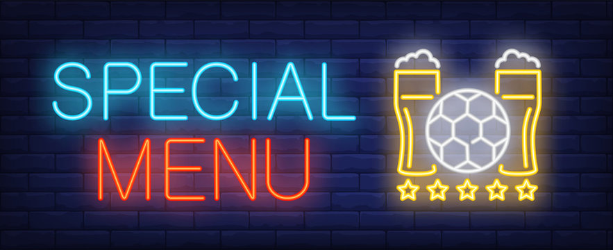 Special menu neon text with football and beer glasses. Sports pub and football advertisement design. Night bright neon sign, colorful billboard, light banner. Vector illustration in neon style.