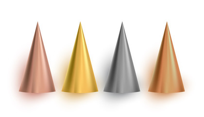Set of 3d gold cone, vector illustration.