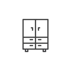 Closet furniture outline icon. linear style sign for mobile concept and web design. Cupboard simple line vector icon. Symbol, logo illustration. Pixel perfect vector graphics
