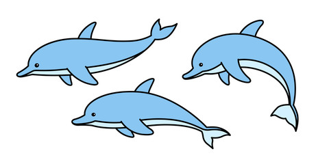 dolphin vector cartoon character icon logo fish shark whale illustration symbol doodle