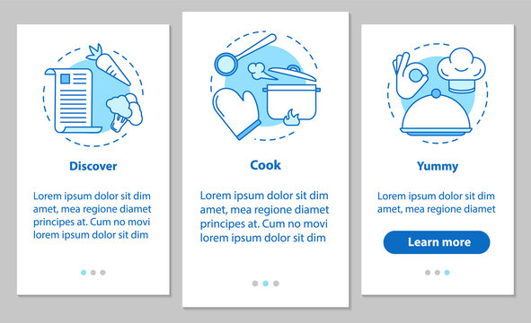 Cooking food onboarding mobile app page screen with linear conce