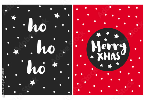 Cute Simple Christmas Vector Cards. Black and Red Background