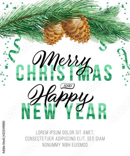 christmas and new year poster design fir tree branch with cones green streamer and