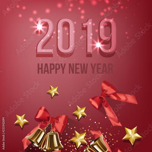 Twenty Nineteen New year card design  Gold jingles, red bows