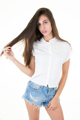 teen girl beautiful brunette cheerful enjoying isolated on white background