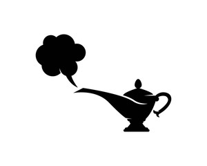 magic lamp genie icon logo template