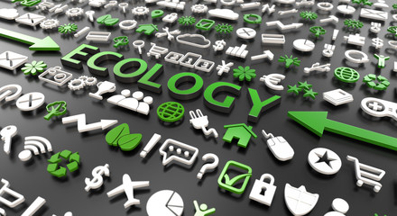 """ecology"" word with 3d icons"