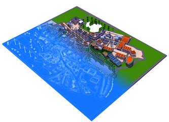 Rappresentazione Grafica Urbanistica, cartina, illustrazione 3d