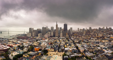 Wall Mural - San Francisco skyline panorama from above