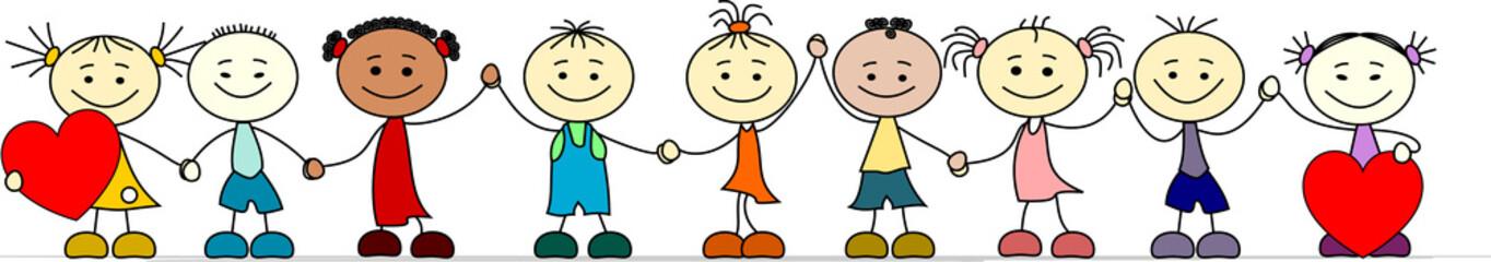 Kinder verschiedener Nationalitäten Hand in Hand