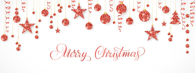 Christmas garland. Red glitter ornaments isolated on white. Hanging ribbons and balls. Merry Christmas calligraphy
