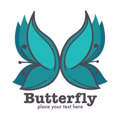 Butterfly graphic abstract logo design with text