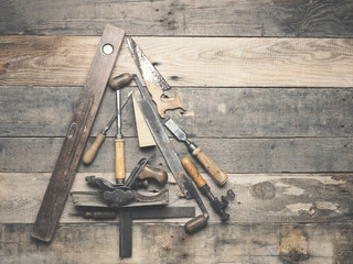 Vintage carpenter tools as a Christmas tree