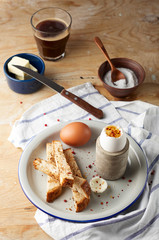 Soft boiled eggs with Buttered toast Soldiers are a classic English breakfast