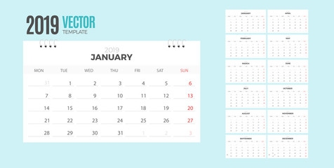 Desk Monthly Calendar 2019 year. Vector colorful template