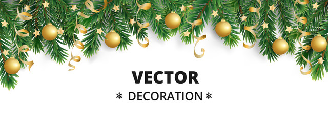 Wall Mural - Winter holiday background. Border with Christmas tree branches. Garland, frame with hanging baubles, streamers