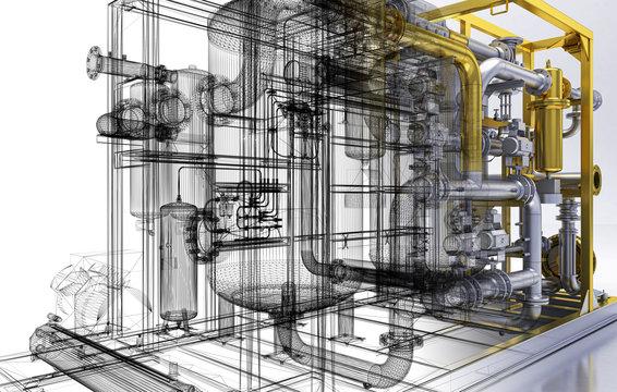 Impianto di pompe, piping, BIM, illustrazione 3d