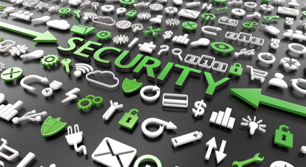 """security"" word with 3d icons"