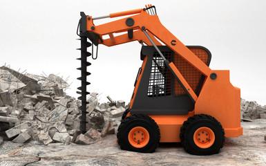 Trivella con punta per carotaggio industriale, escavatore, illustrazione 3d