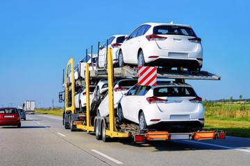 Cars carrier truck at asphalt road in Poland