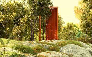 Porta fatata nel mezzo della foresta, magia, illustrazione 3d