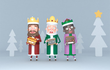 Three Magic Kings standing on a grey scene with trees. Isolated.