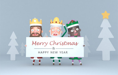Three Magic Kings holding a placard with Greetings.