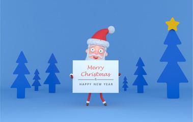 Santa holding a placar with Greetings on a tree blue scene.