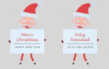 Santa Claus holding placard with greeting. Isolated.