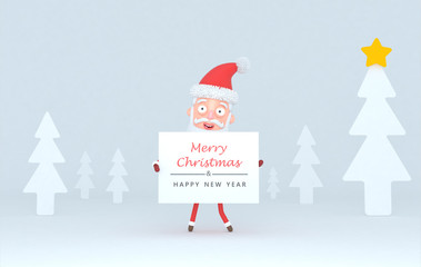 Santa Claus holding a placar with Greetings on a tree white scene.