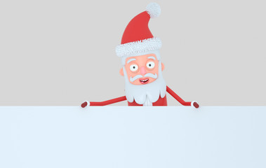 Santa Claus holding a big white  banner. Isolated