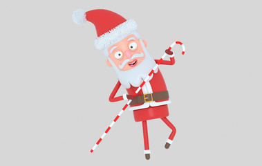 Santa Claus holding a big Candy. Isolated.