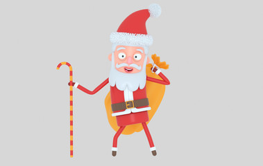 Santa Claus holding a christmas sack. Isolated.